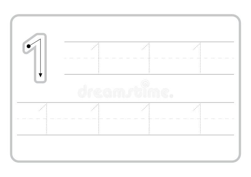 Bezp?atne handwriting strony dla pisa? licz? uczenie liczby, Licz? kalkowania worksheet dla dziecina ilustracji