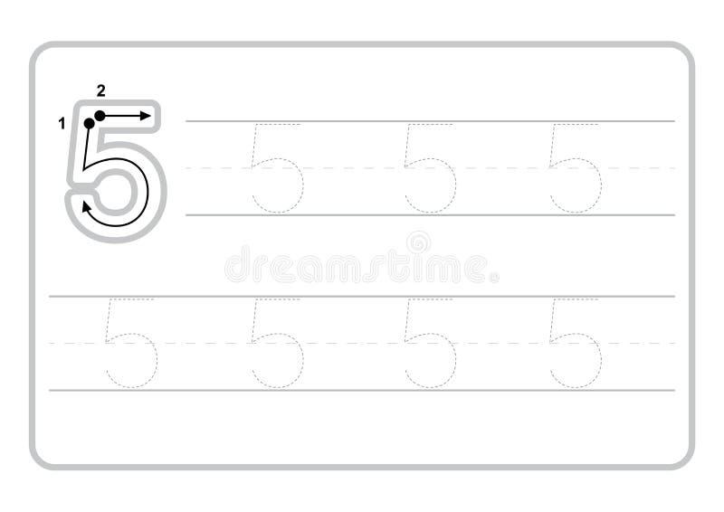 Bezp?atne handwriting strony dla pisa? licz? uczenie liczby, Licz? kalkowania worksheet dla dziecina ilustracja wektor