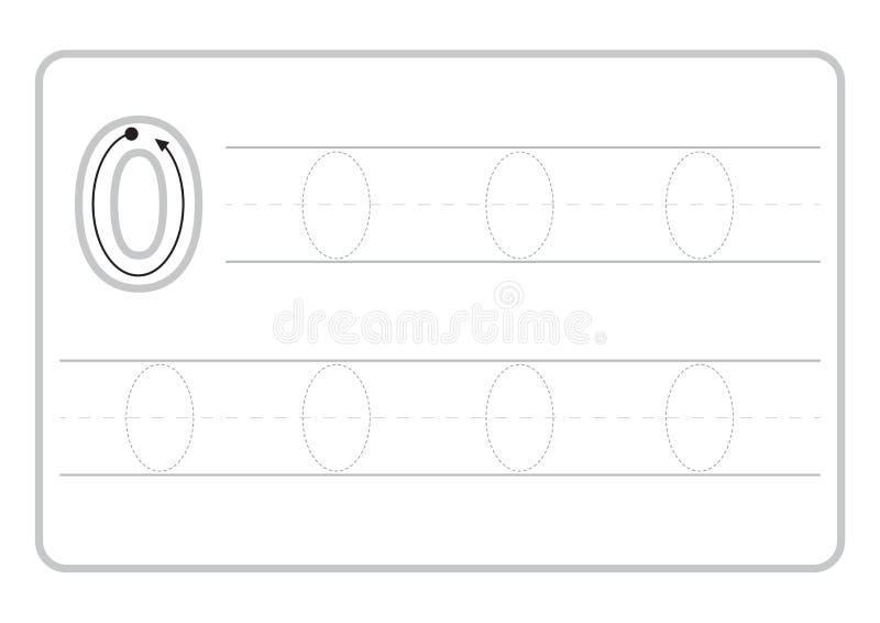 Bezp?atne handwriting strony dla pisa? licz? uczenie liczby, Licz? kalkowania worksheet dla dziecina royalty ilustracja