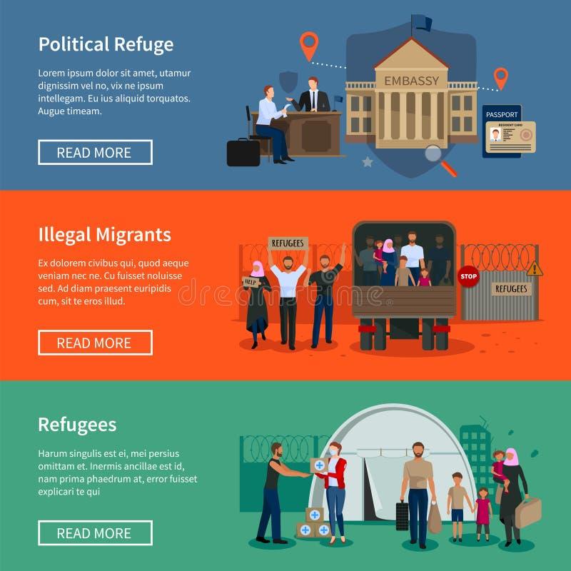 Bezpaństwowych uchodźców Horyzontalni sztandary royalty ilustracja