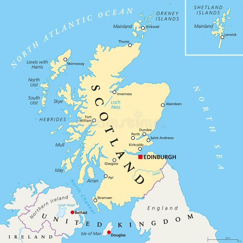 Bezpartyjnika Szkocja Polityczna mapa ilustracja wektor