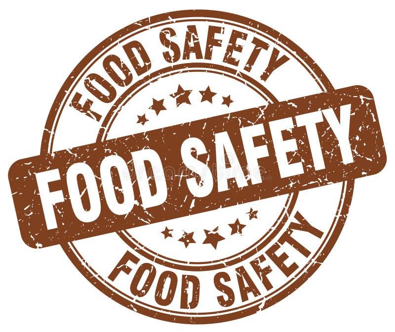 bezpieczeństwa żywnościowe brown grunge rocznika round znaczek ilustracja wektor