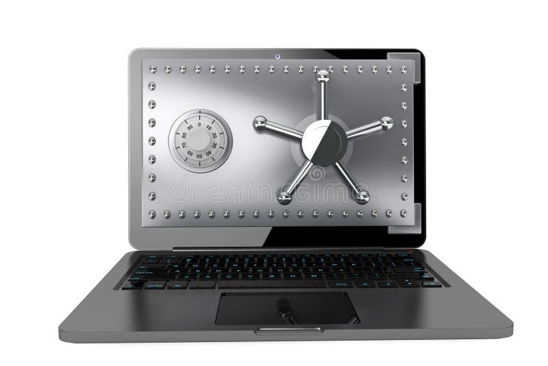 Bezpieczeństwa komputerowego pojęcie. Laptop z Bezpiecznym drzwi obrazy royalty free