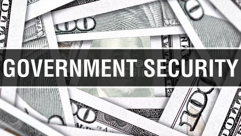 Bezpieczeństwa Rządu zbliżenia pojęcie Amerykańscy dolary Gotówkowego pieniądze, 3D rendering Bezpieczeństwa Rządu przy Dolarowym royalty ilustracja