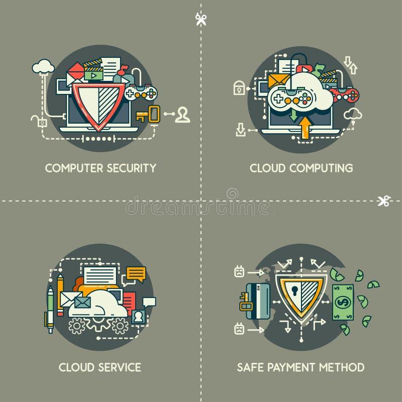 Bezpieczeństwo Komputerowe, Cloud Computing, chmury usługa, Bezpieczna Płatnicza metoda royalty ilustracja