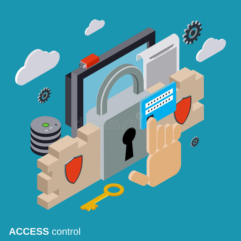 Bezpieczeństwo komputerowe, dane ochrona, kontrola dostępu wektoru pojęcie ilustracji