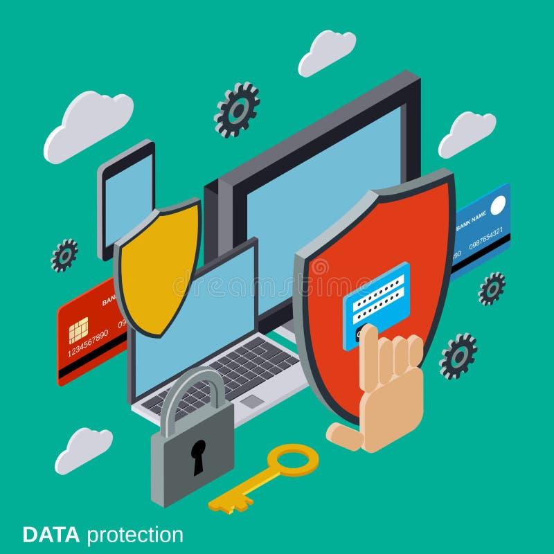 Bezpieczeństwo komputerowe, dane ochrona, prywatność wektoru pojęcie ilustracji