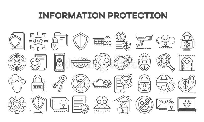 Bezpieczeństwo komputerowe ikony set, konturu styl royalty ilustracja