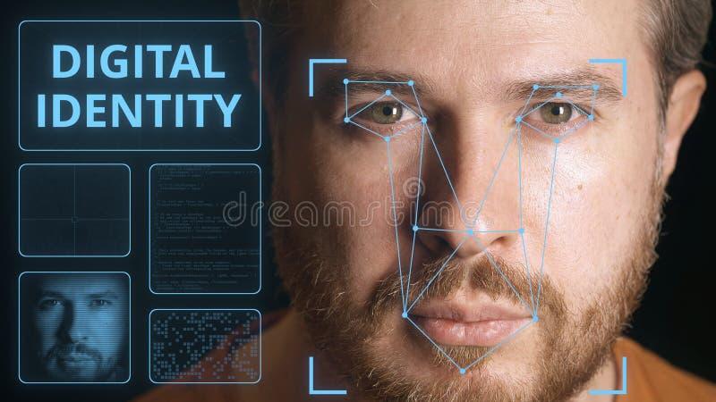 Bezpieczeństwo komputerowe system skanuje caucasian mężczyzny twarz Cyfrowej tożsamości powiązany wizerunek zdjęcia royalty free