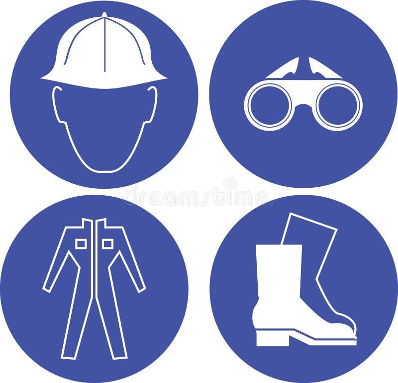 Bezpieczeństwo przy praca błękitnymi znakami zdjęcie royalty free