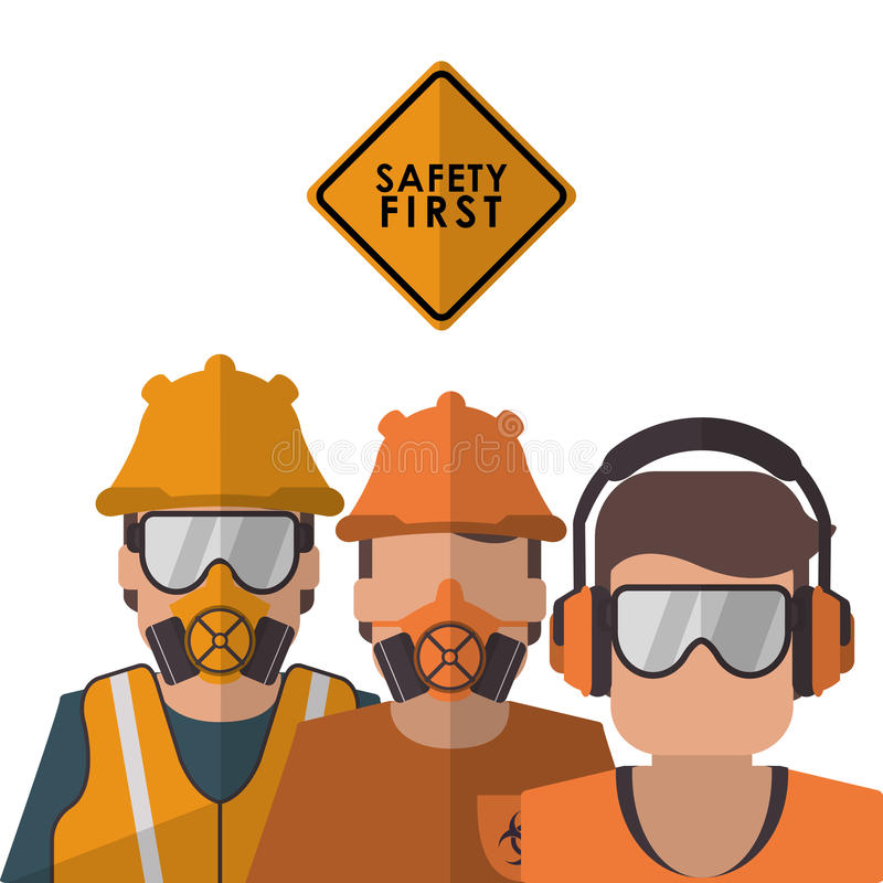 Bezpieczeństwo przy pracy ikony projektem ilustracja wektor