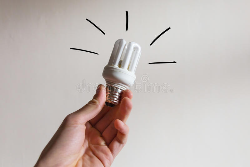 Bezpieczna energetyczna eco żarówka fotografia stock