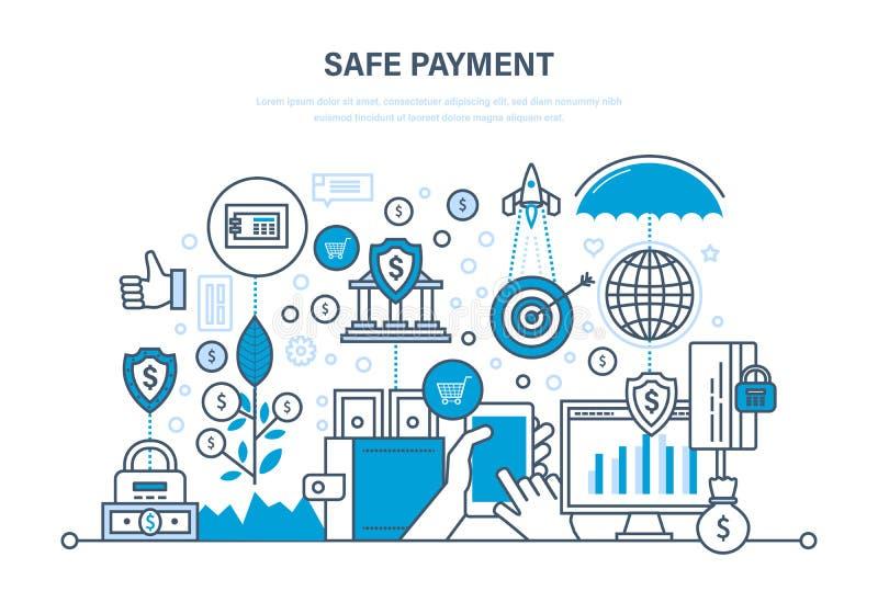 Bezpieczna zapłata Metody płatnicze Ochrona dane, zapłaty, operacje, finanse royalty ilustracja