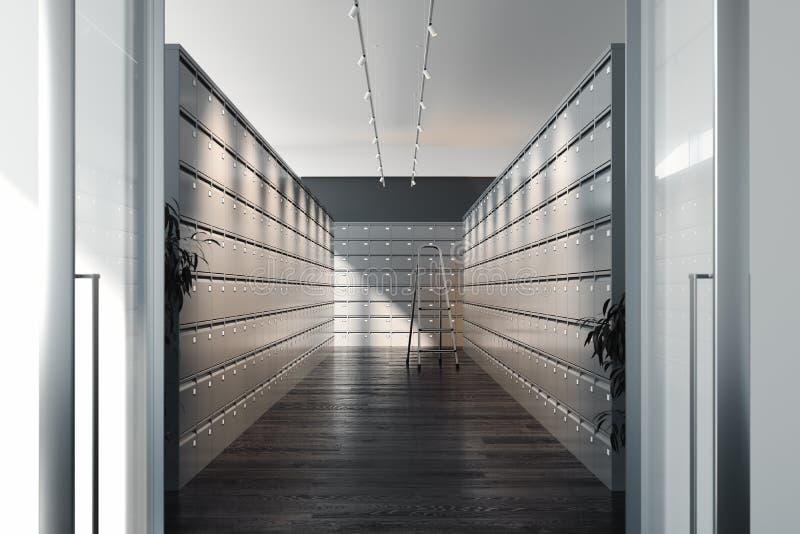 Bezpieczni depozytowi pudełka i drabina wśrodku bank krypty Zbawcze szafy świadczenia 3 d fotografia stock