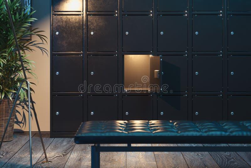 Bezpieczni depozytowi pudełka na z światłem Zbawcze szafy ?wiadczenia 3 d obraz stock