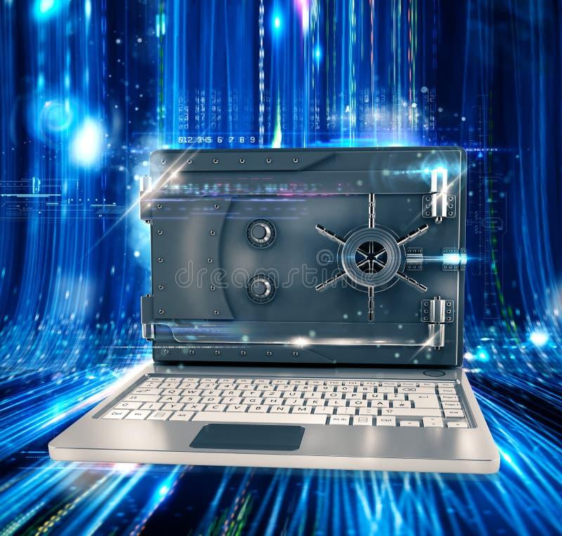 Bezpieczny komputeru osobistego 3d rendering royalty ilustracja
