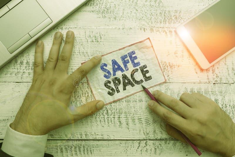Bezpieczny obszar tekstu pisanego wyrazem Koncepcja biznesowa miejsca lub pokoju, w którym jesteś chroniony przed uszkodzeniem lu obraz stock