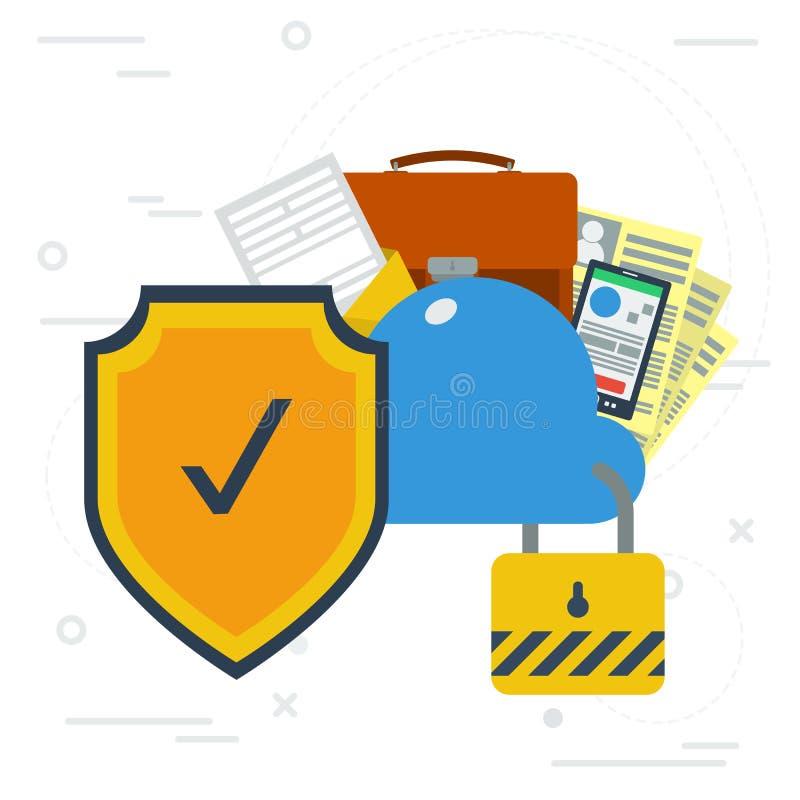 Bezpieczny online obłoczny przechowywanie danych ilustracja wektor