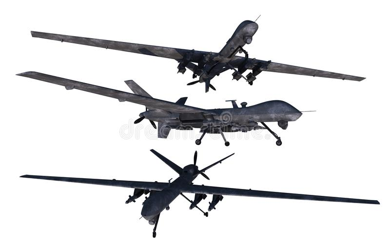 Bezpilotowi Militarni trutnie ilustracja wektor