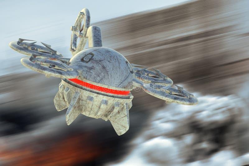 Bezpilotowy Powietrzny pojazdu truteń w locie ilustracja wektor