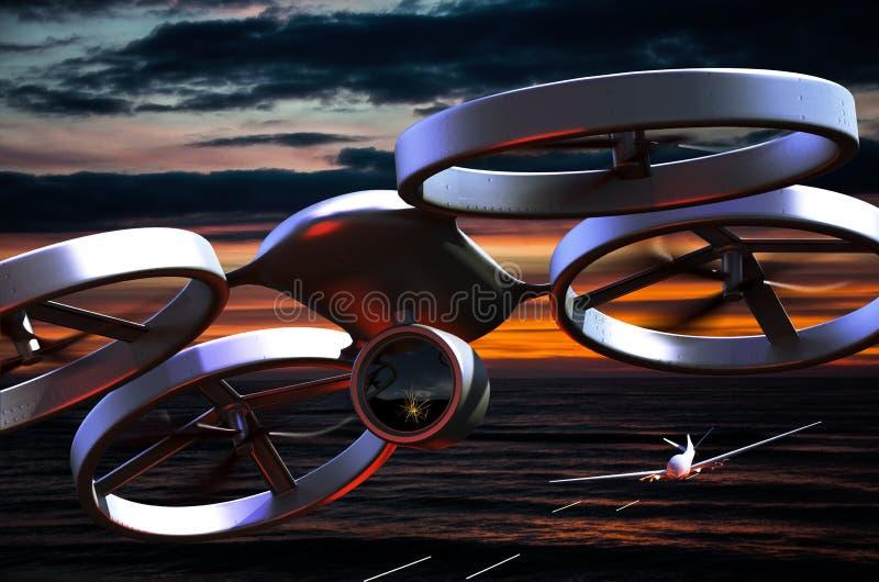 Bezpilotowy Powietrzny pojazdu truteń w locie fotografia royalty free