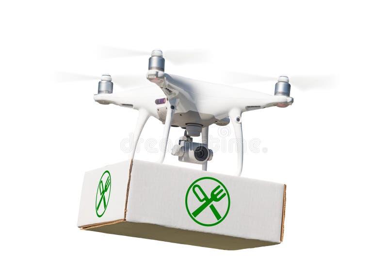 Bezpilotowy samolotu systemu UAV Quadcopter trutnia przewożenia pakunek zdjęcie royalty free