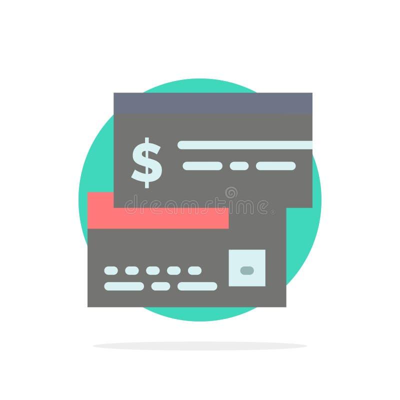Bezpośrednia zapłata, karta, kredyt, debet, Bezpośredniego Abstrakcjonistycznego okręgu tła koloru Płaska ikona royalty ilustracja