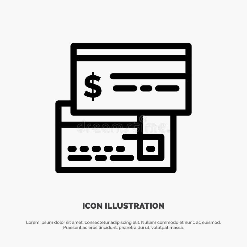 Bezpośrednia zapłata, karta, kredyt, debet, Bezpośredniej linii ikony wektor ilustracja wektor