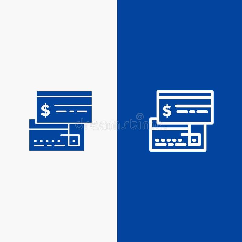 Bezpośredniej zapłaty, karty, kredyta, debetu, Bezpośredniej linii i glifu Stałej ikony sztandaru glifu, Błękitnej ikony błękita  ilustracja wektor