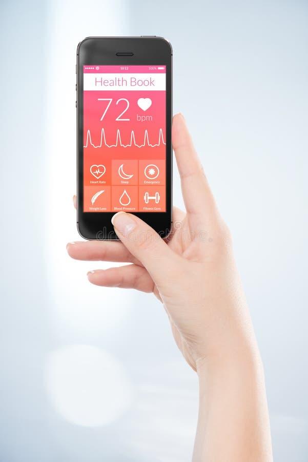 Bezpośrednio frontowy widok czarny mobilny mądrze telefon z zdrowie bo obraz stock