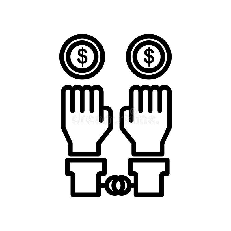 Bezprawny ikona wektoru znak i symbol odizolowywający na białym tle royalty ilustracja