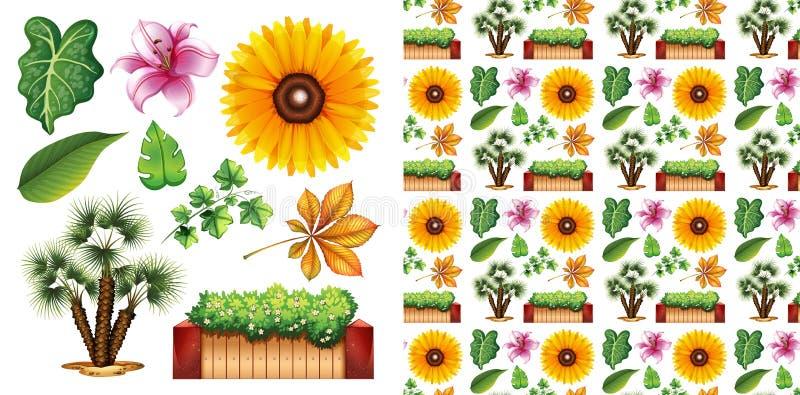 Bezproblemowa konstrukcja tła z oddzielnym zestawem ogrodniczym fotografia royalty free