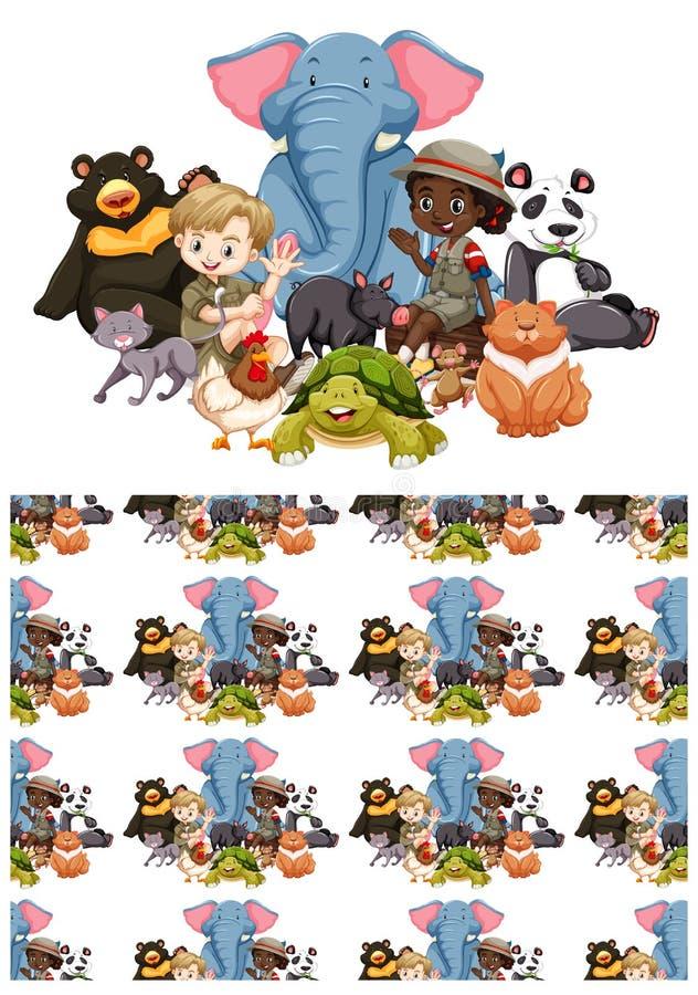 Bezproblemowe projektowanie tła z dziećmi i dzikimi zwierzętami obrazy stock