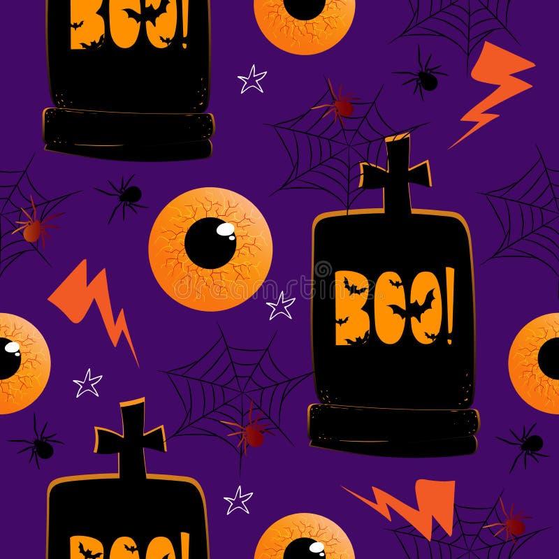 Bezproblemowe wzorki z rÄ™cznie narysowanym elementem halloweens na fioletowym tle. wielki bright rzucony rozszerzy? upraw flar? e royalty ilustracja