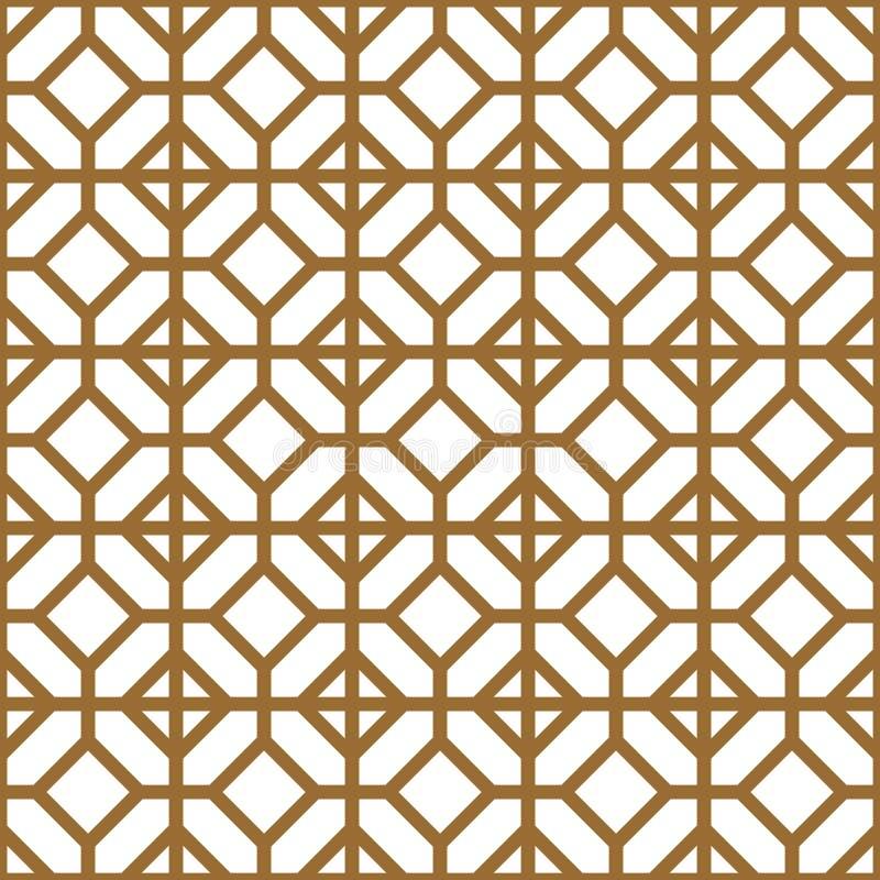 Bezproblemowy wzór geometryczny w kolorze złotym i białym Kumiko ilustracja wektor