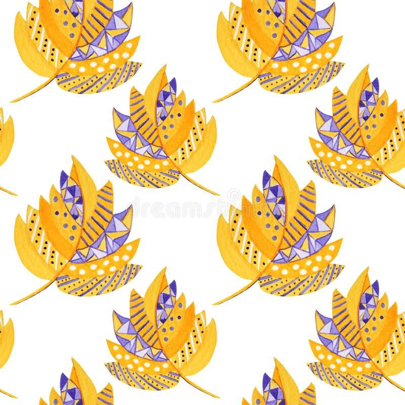 Bezproblemowy wzór jesienny liść na białym tle Ilustracja ręcznie narysowanych liści jesiennych o barwie wodnej, pomarańczowej i  ilustracji