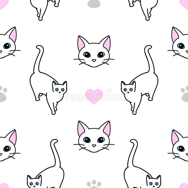 Bezproblemowy wzór ze słodkimi białymi kotami Tekstura do tapet, materiałów piśmiennych, tkanin, zawijania, tła stron internetowy ilustracji