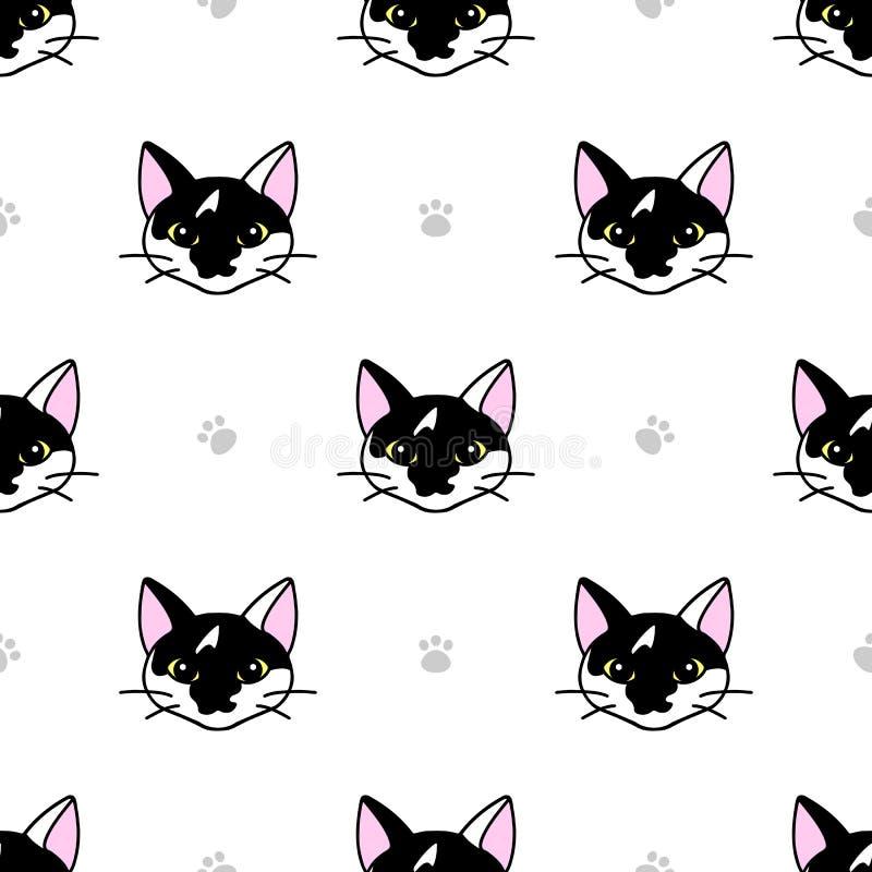 Bezproblemowy wzór ze słodkimi czarno-białymi kotami Tekstura do tapet, materiałów piśmiennych, tkanin, zawijania, tła stron inte ilustracja wektor