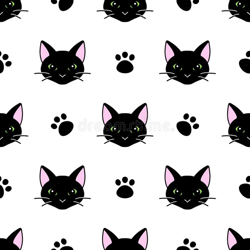 Bezproblemowy wzór ze słodkimi czarno-białymi kotami Tekstura do tapet, materiałów piśmiennych, tkanin, zawijania, tła stron inte ilustracji