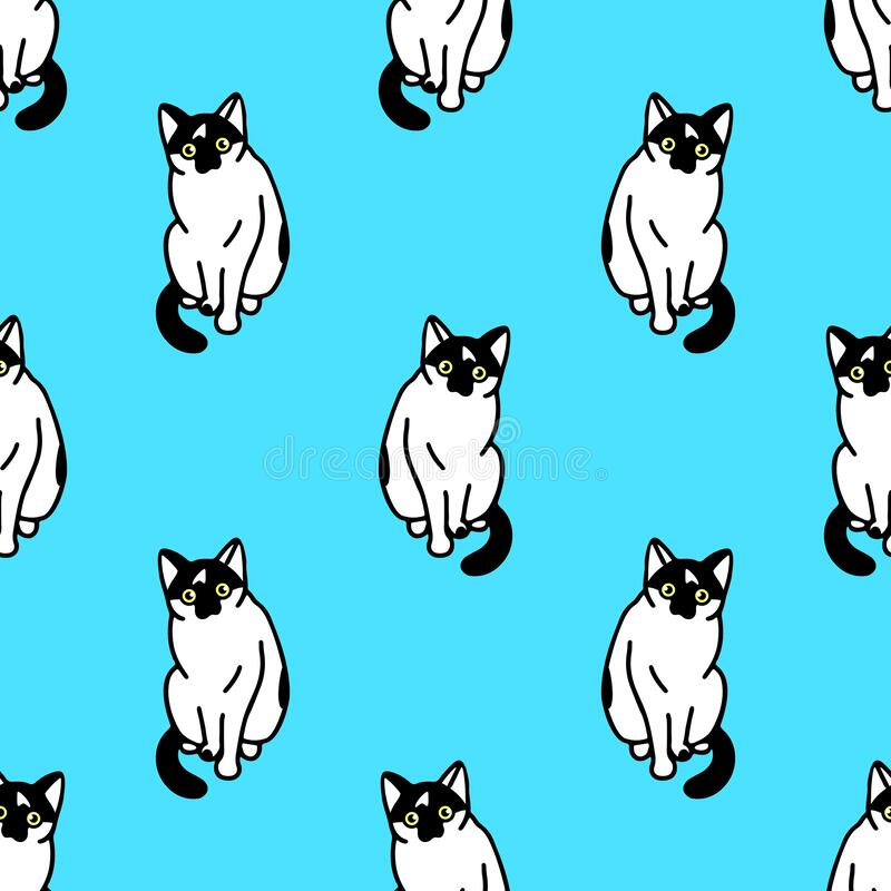 Bezproblemowy wzór ze słodkimi czarno-białymi kotami Tekstura do tapet, papeterii, tkaniny, zawijania, tła stron internetowych, w ilustracja wektor