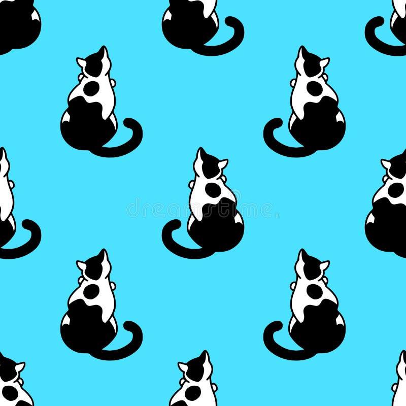 Bezproblemowy wzór ze słodkimi czarno-białymi kotami Tekstura do tapet, papeterii, tkaniny, zawijania, tła stron internetowych, w ilustracji