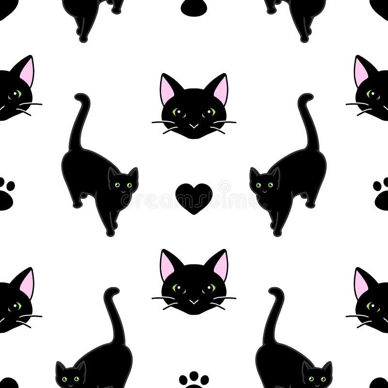 Bezproblemowy wzór ze słodkimi czarnymi kotami Tekstura do tapet, materiałów piśmiennych, tkanin, zawijania, tła stron internetow ilustracja wektor