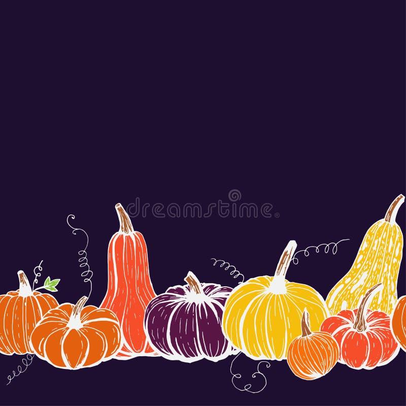 Bezproblemowy wzorzec obramowania jesiennych dyń różnego rodzaju na ciemnym tle ilustracji