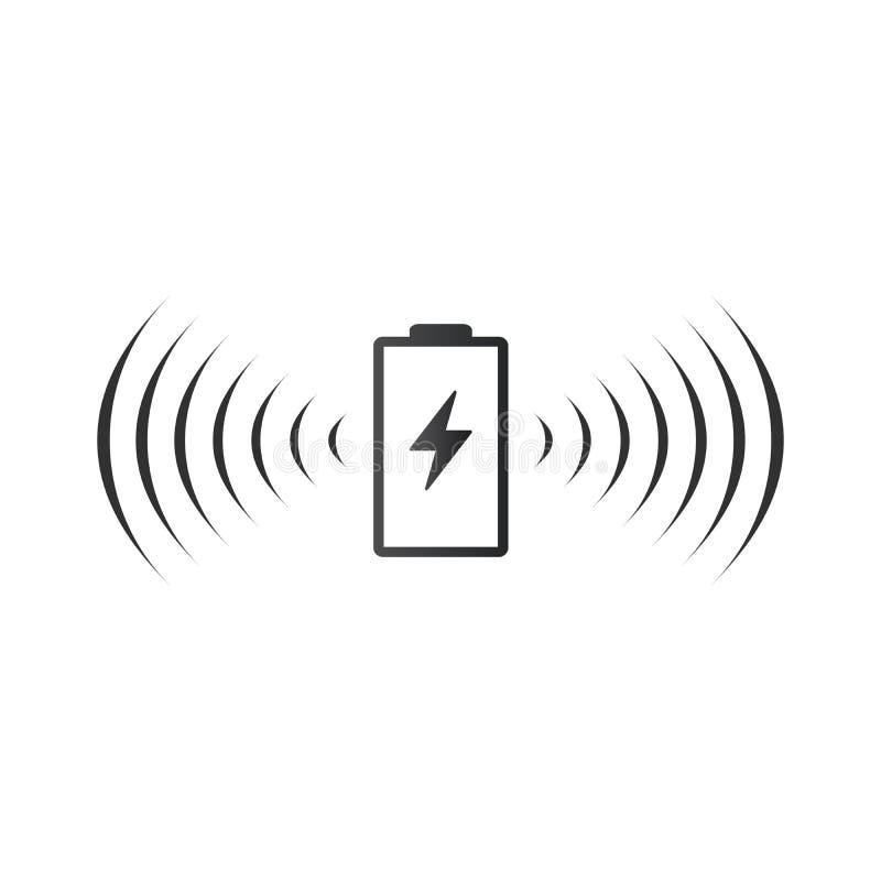 Bezprzewodowa bateryjna ?aduje ikona Może używać na sieci apps, mobilnych apps i mediach drukowanych, Wektorowa ilustracja odizol royalty ilustracja