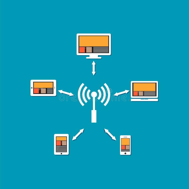 Bezprzewodowa komunikacja lub sieć bezprzewodowa związek ilustracja wektor