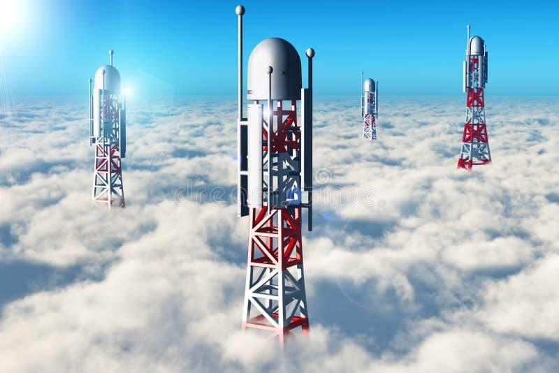 Bezprzewodowa telekomunikacja góruje w niebie nad chmury ilustracja wektor