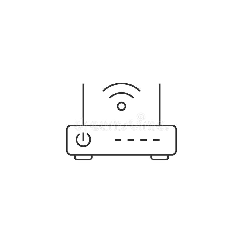 Bezprzewodowego routera cienka kreskowa ikona royalty ilustracja