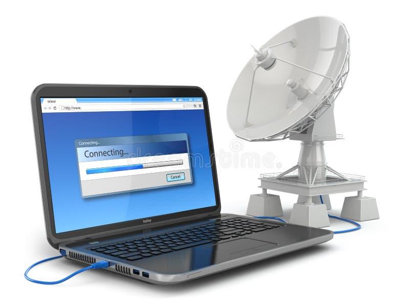 Bezprzewodowy interneta pojęcie.  Laptop i antena satelitarna. ilustracji