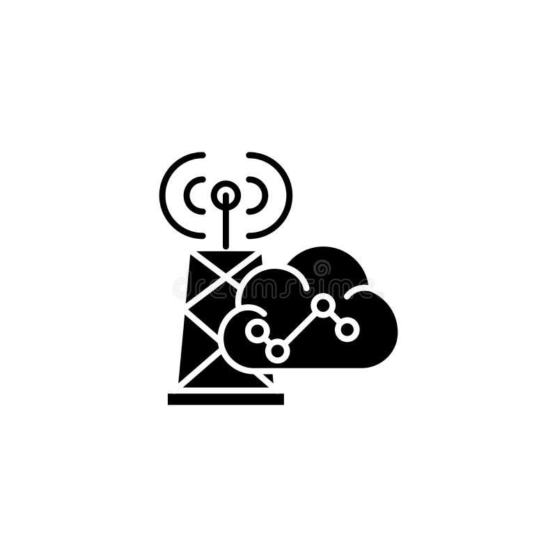 Bezprzewodowy komunikacyjny czarny ikony pojęcie Bezprzewodowy komunikacyjny płaski wektorowy symbol, znak, ilustracja ilustracji