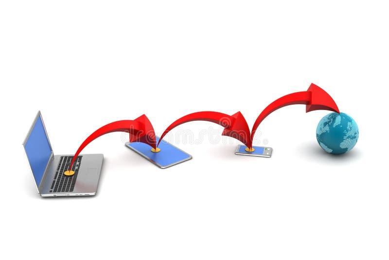 Download Bezprzewodowy Networking System Ilustracji - Ilustracja złożonej z poczta, telefon: 53778854